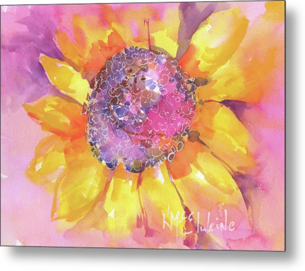 Pink Purple Yellow Sunflower  Metal Print