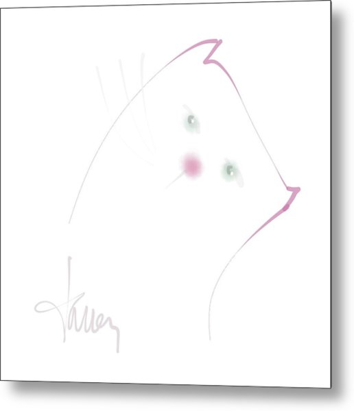 Metal Print featuring the mixed media Pink Pussycat by Larry Talley