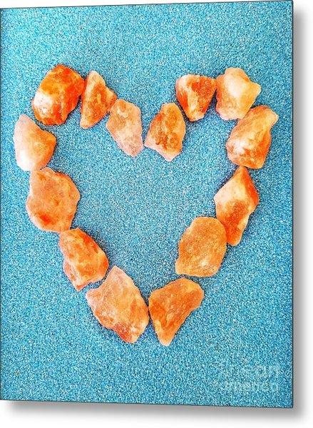 Pink Rocks Heart Metal Print