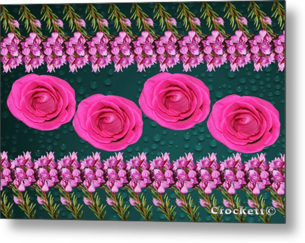 Pink Roses Floral Display Metal Print