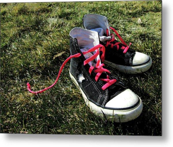 Pink Shoe Laces Metal Print