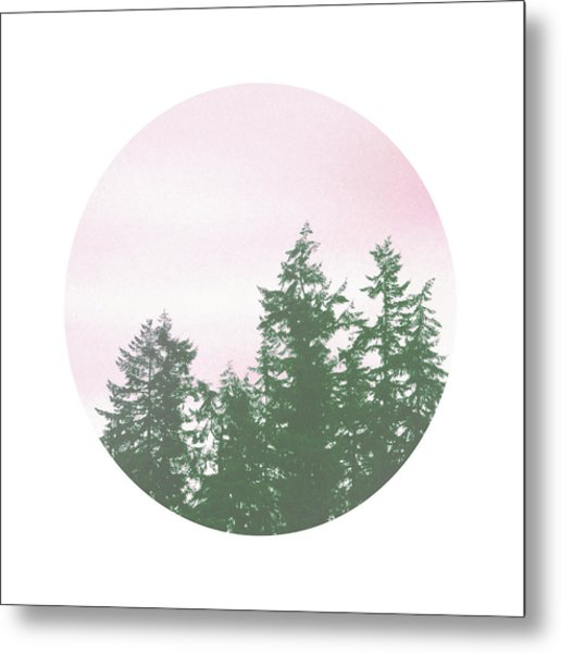 Pink Sky Trees- Art By Linda Woods Metal Print