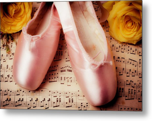 Pink Slippers And Roses Metal Print