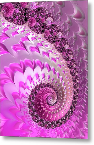 Pink Spiral With Lovely Hearts Metal Print
