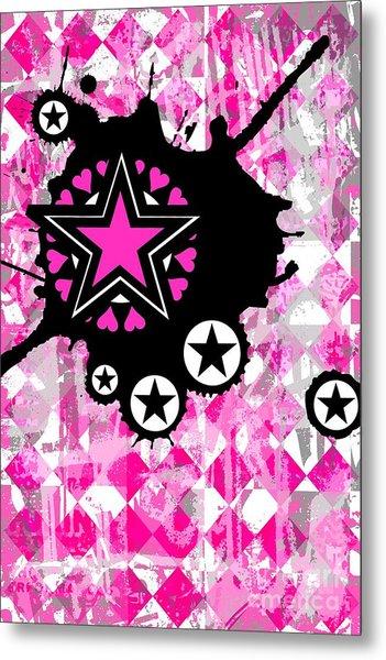 Pink Star Splatter Metal Print