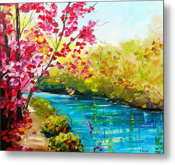 Metal Print featuring the painting Pink Tree by Kevin  Brown