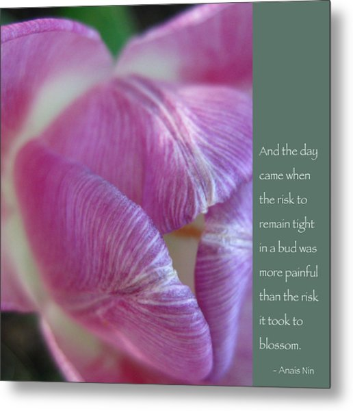 Pink Tulip With Anais Nin Quote Metal Print