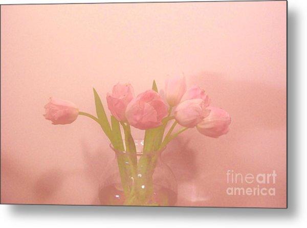 Pink Tulips On Pink Metal Print by Marsha Heiken