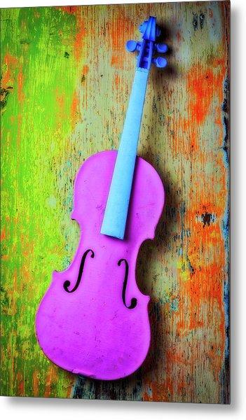 Pink Violin Metal Print