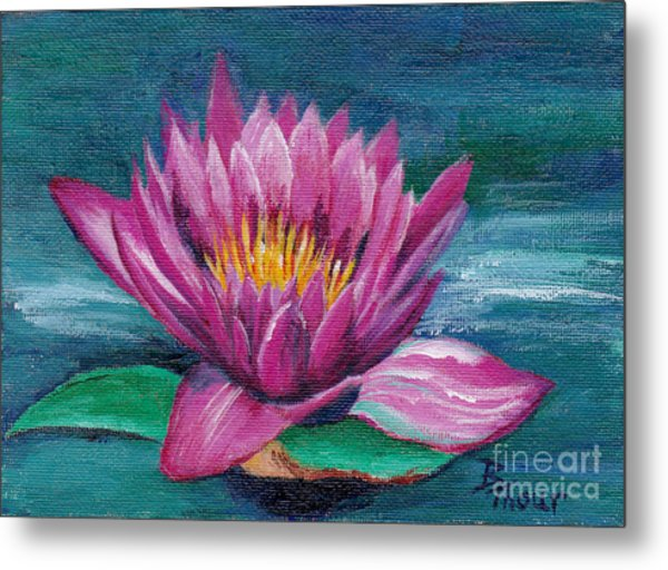 Pink Water Lily Original Painting Metal Print by Brenda Thour