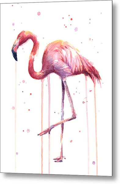 Pink Watercolor Flamingo Metal Print