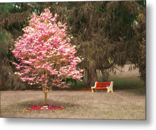 Pinky And The Bench - Impressionism Metal Print