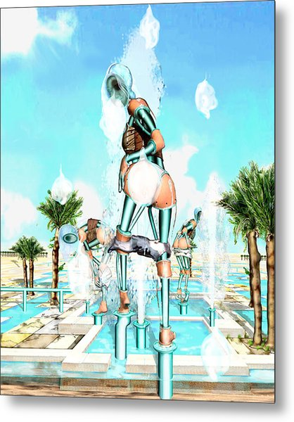 Pipe Human Figures Creating On Oasis Number Two Metal Print by Leo Malboeuf