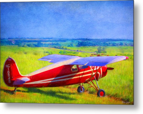 Piper Cub Airplane In Kansas Prairie Metal Print