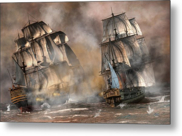 Metal Print featuring the digital art Pirate Battle by Daniel Eskridge