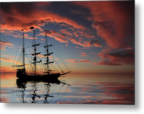 Pirate Ship At Sunset Metal Print