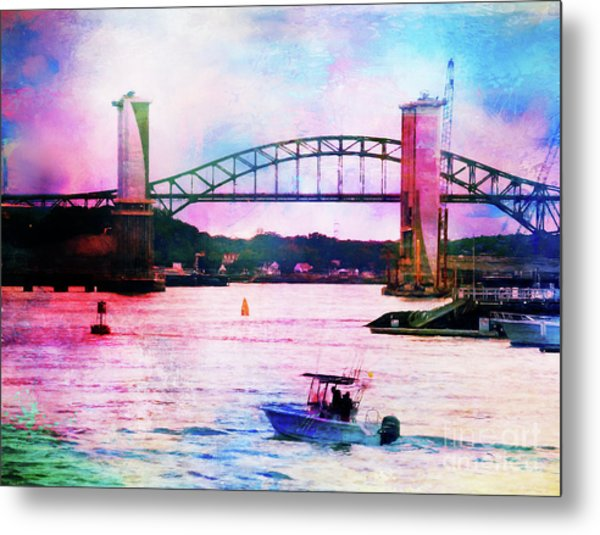 Piscataqua River Bridge From Harborwalk Park, Portsmouth New Hampshire Metal Print