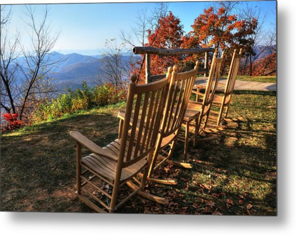 Pisgah Inn's Rocking Chairs Metal Print