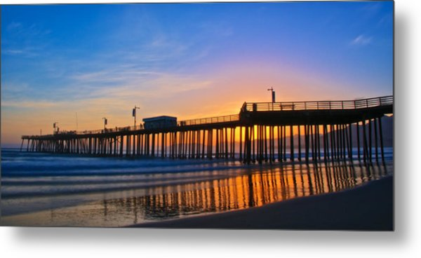 Pismo Beach And Pier Sunset Metal Print