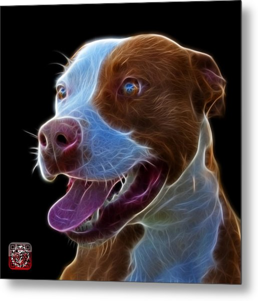 Pit Bull Fractal Pop Art - 7773 - F - Bb Metal Print