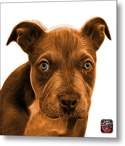 Metal Print featuring the painting Pitbull Puppy Pop Art - 7085 Wb by James Ahn