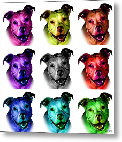 Pitbull Terrier - F - S - Wb - Mosaic Metal Print
