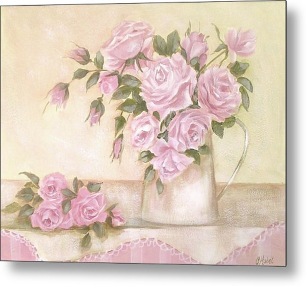 Pitcher Of  Pink Roses  Metal Print
