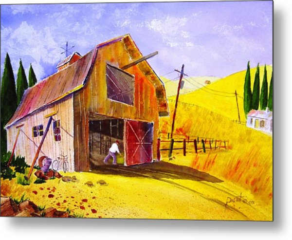 Pitching Hay Metal Print by Buster Dight