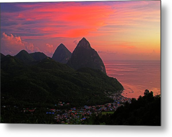 Pitons At Sunset- St Lucia Metal Print