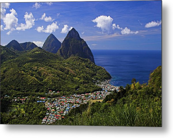 Pitons St Lucia Metal Print