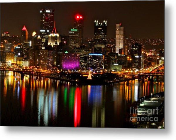 Pittsburgh Christmas At Night Metal Print