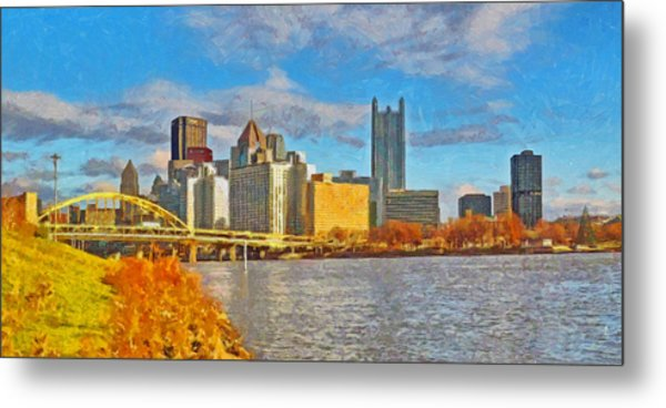 Metal Print featuring the digital art Pittsburgh From The Shore Of The Ohio River by Digital Photographic Arts