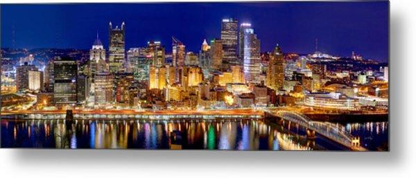 Pittsburgh Pennsylvania Skyline At Night Panorama Metal Print