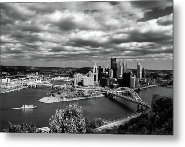 Pittsburgh Skyline With Boat Metal Print