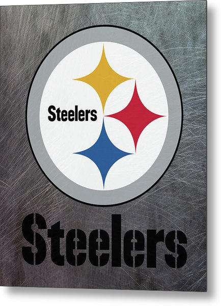 Pittsburgh Steelers On An Abraded Steel Texture Metal Print
