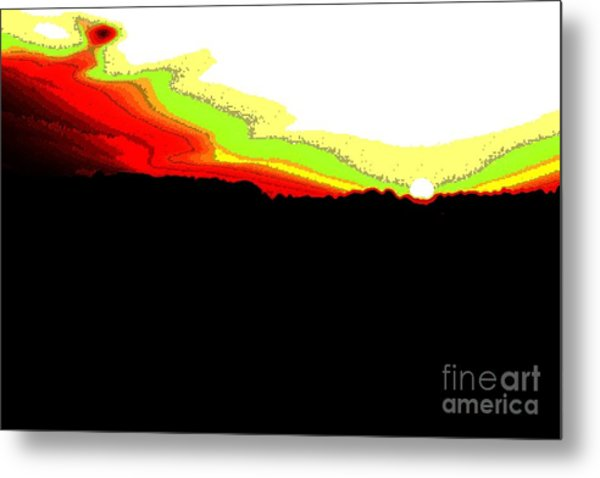 Pixel Sunset Metal Print by Vadim Grabbe