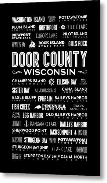 Places Of Door County On Black Metal Print