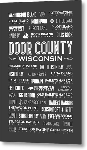 Places Of Door County On Gray Metal Print