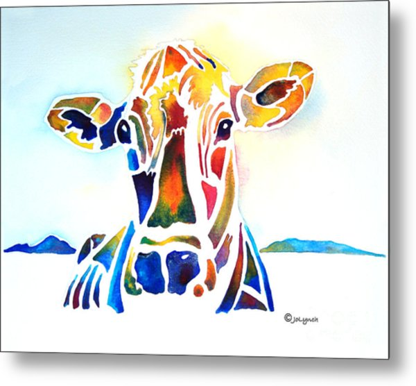 Placid The Cow Metal Print by Jo Lynch