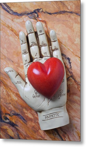 Plam Reader Hand Holding Red Stone Heart Metal Print