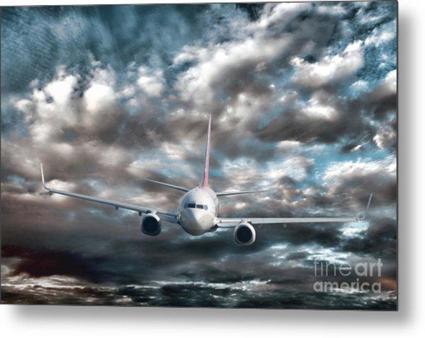 Plane In Storm Metal Print