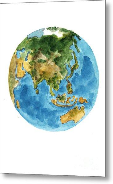 Planet Earth Watercolor Art Print Painting Metal Print