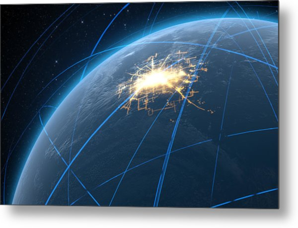 Planet With Illuminated City And Light Trails Metal Print