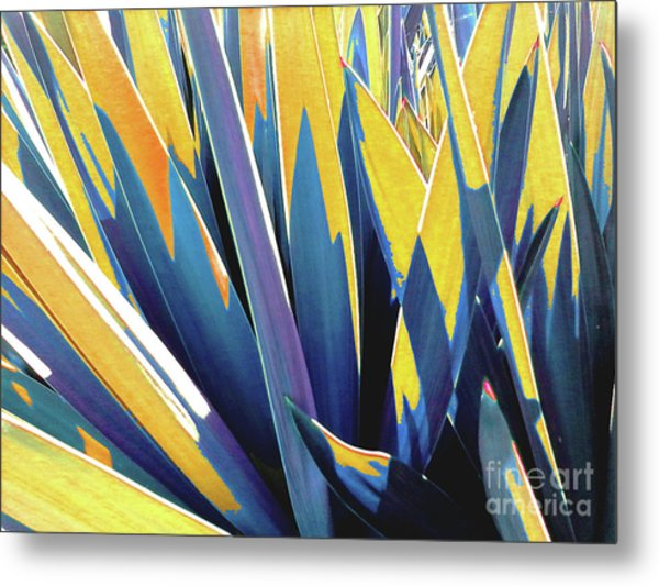 Plant Burst - Yellow Metal Print