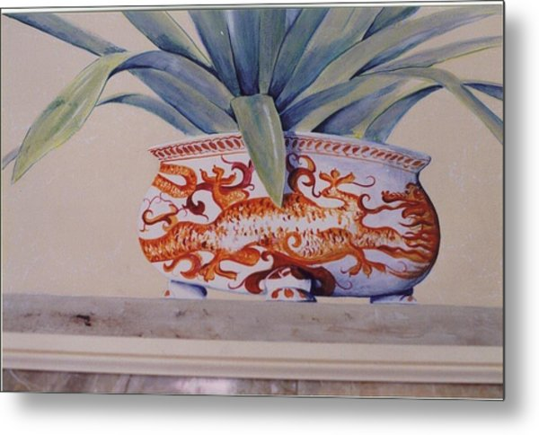 Metal Print featuring the painting Planter Close Up by Thomas Lupari