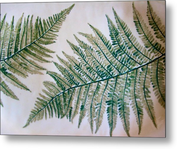 Platter With Ferns Metal Print