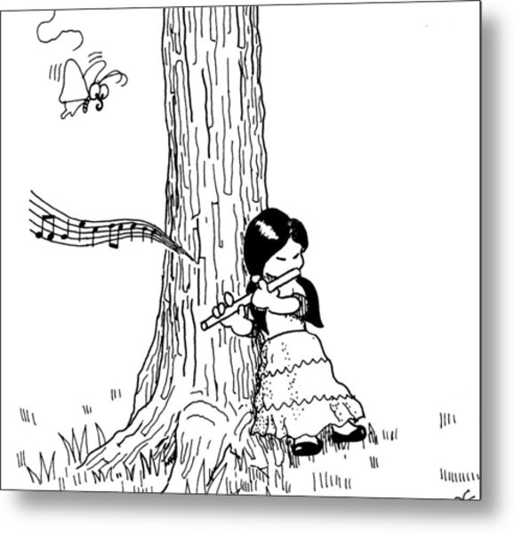 Play The Flute Under The Tree Metal Print