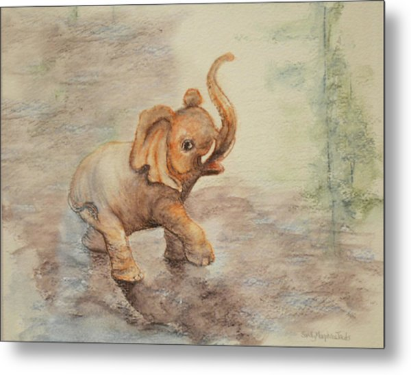 Playful Elephant Baby Metal Print