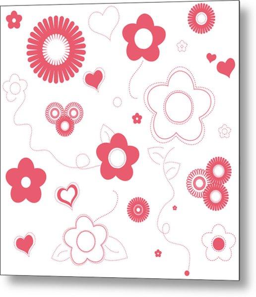 Playful Flower Background Metal Print
