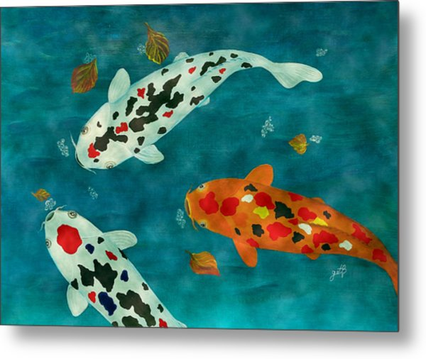 Playful Koi Fishes Original Acrylic Painting Metal Print